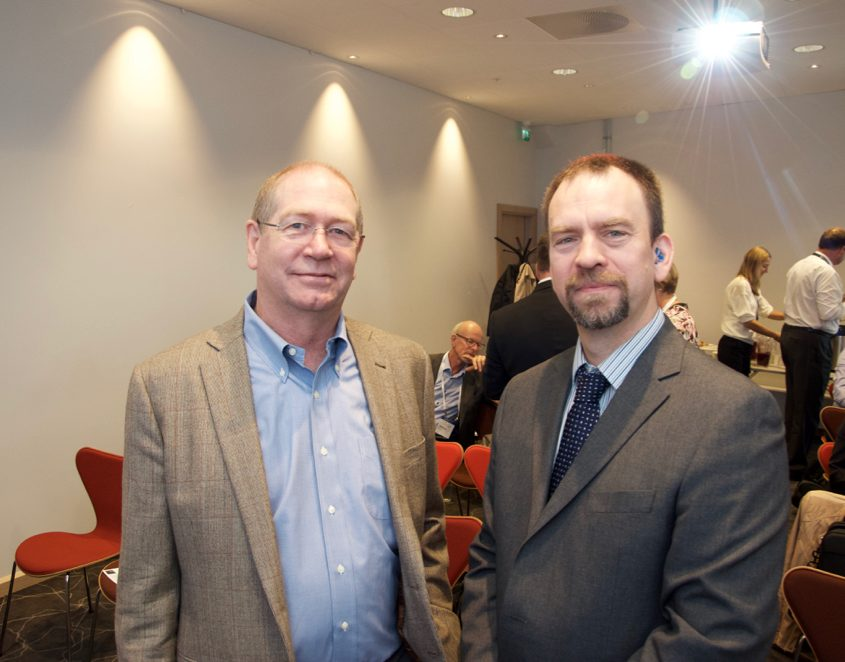 John Macpherson (left), Senior Technical Advisor Drilling Systems at Baker Hughes and Noroff Professor Iain Sutherland gave presentations at the Nortex Breakfast seminar at ONS Wednesday.