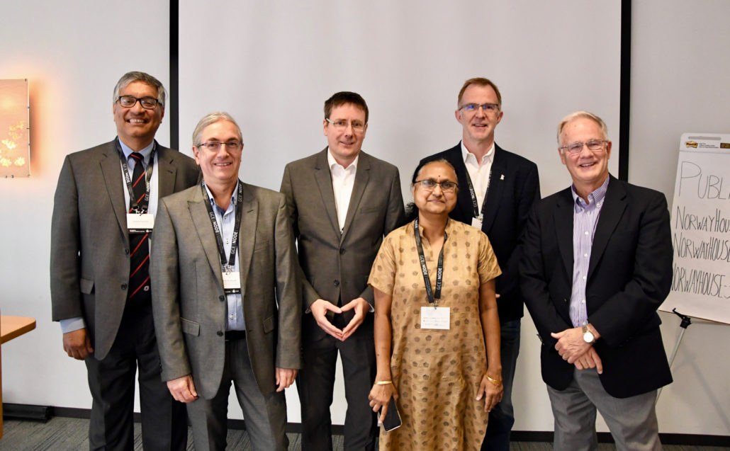 Researchers from the University of Agder and Rice University in Houston met in Houston to discuss crisis management. Left-right: Deepak Khazanchi, Bjørn Erik Munkvold and Christian Webersik from the University of Agder, and Devika Subramanian, Jan Erik Ødegård and Philip Bedient from Rice University.