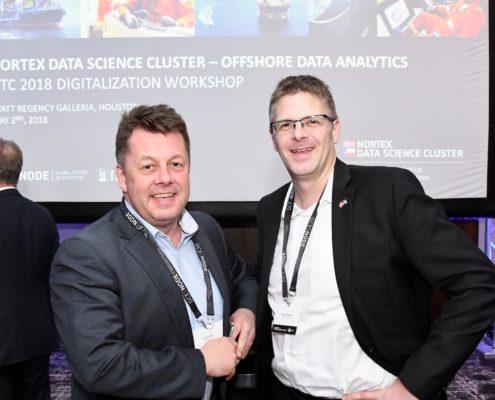 Morten Hagland Hansen at satellite operator SES (right) enjoyed the NorTex Data Science Cluster Digitalization Workshop in Houston, led by Arnt Aske, Business Development Digitalization at GCE NODE.